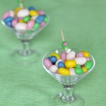 Chocolate covered jelly beans in mini martini glasses