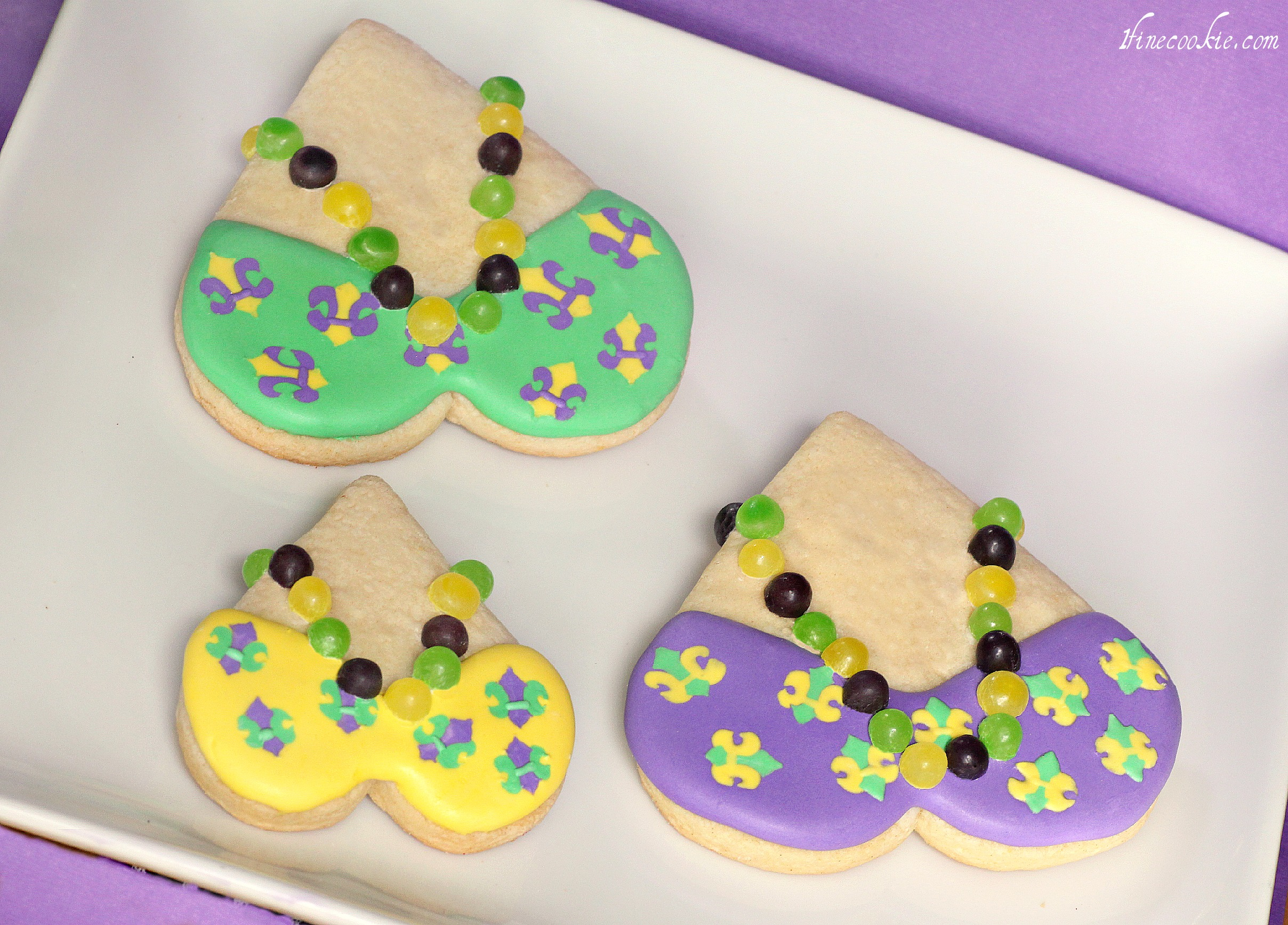 Mardi Gras Cookies With Teeny Tiny Beads Approach