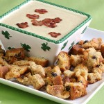 Hard Cider Dip with Shamrock Bacon Confetti and Soda Bread Crutons