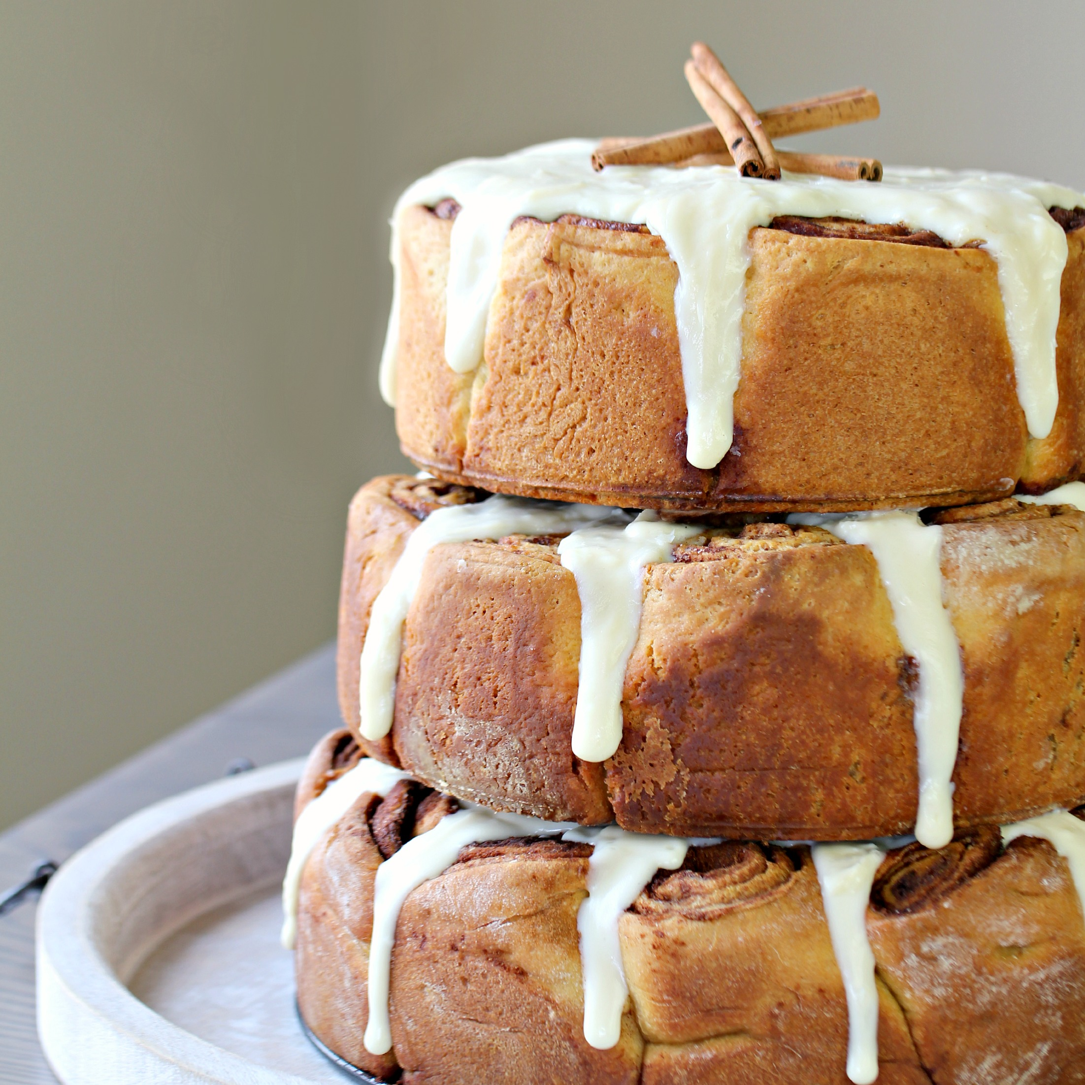 Three Tiered Cinnamon Roll Cake With Cooked Cream Cheese
