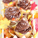 Thanksgiving and Halloween Cupcakes by 1 Fine Cookie , how to, easy,, baking, recipe, diy, video, cooking, baking, bake, cookie, dough, cupcakes, autumn, thanksgiving, orange, yellow, brown, sugar, cookie, nutella, chocolate, peanut, butter, pieces, reeses, spread, hazelnut, frosting,